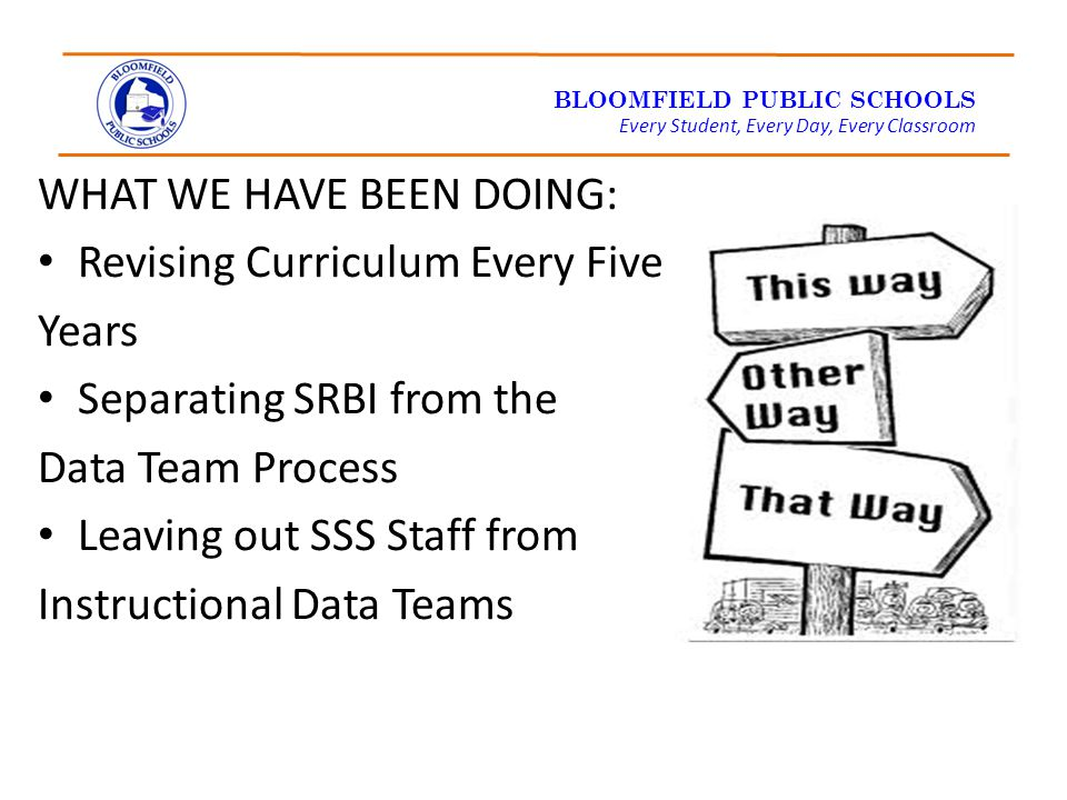 BLOOMFIELD PUBLIC SCHOOLS Every Student, Every Day, Every Classroom WHAT WE HAVE BEEN DOING: Revising Curriculum Every Five Years Separating SRBI from the Data Team Process Leaving out SSS Staff from Instructional Data Teams