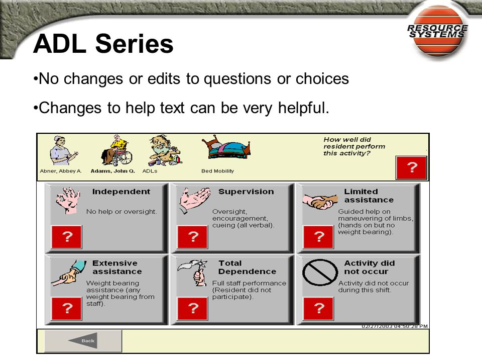 Series Types ADL Series Multiple-Choice Series Checkbox Yes/No Series