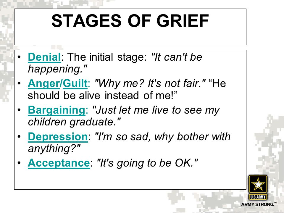 STAGES OF GRIEF Denial: The initial stage: It can t be happening. Denial Anger/Guilt: Why me.