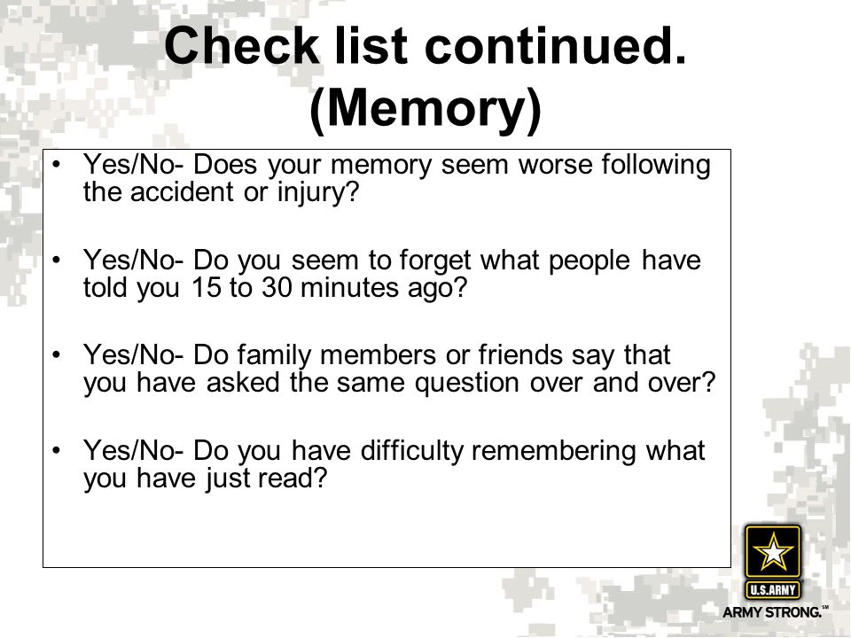 Yes/No- Does your memory seem worse following the accident or injury.