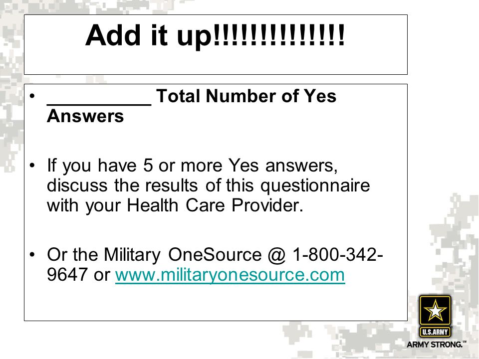 Add it up!!!!!!!!!!!!!! __________ Total Number of Yes Answers If you have 5 or more Yes answers, discuss the results of this questionnaire with your