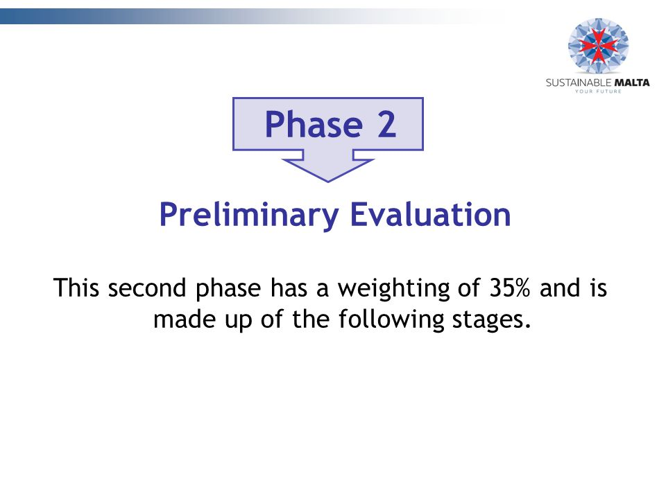 Phase 2 Preliminary Evaluation This second phase has a weighting of 35% and is made up of the following stages.