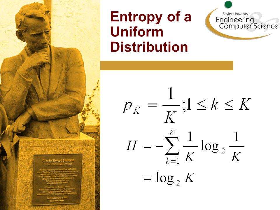Entropy of a Uniform Distribution