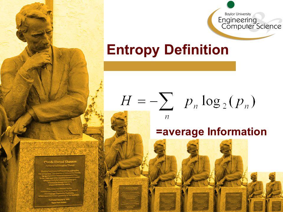 Entropy Definition =average Information
