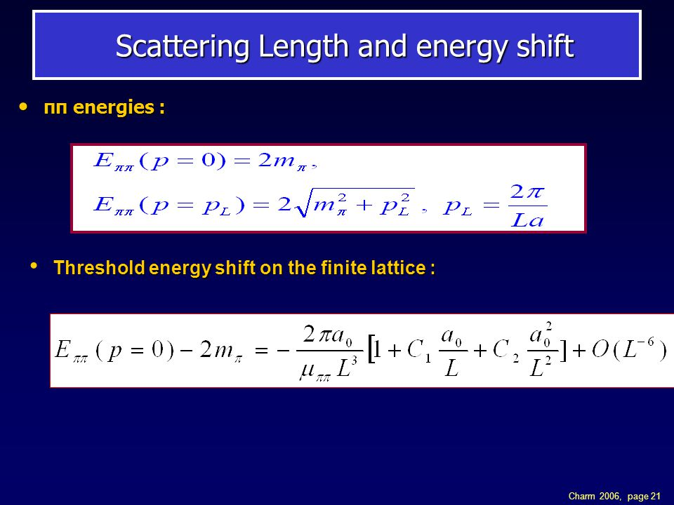 Charm 2006, page 21 Scattering Length and energy shift Scattering Length and energy shift ππ energies : ππ energies : Threshold energy shift on the fi