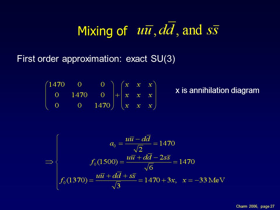 Charm 2006, page 27 Mixing of First order approximation: exact SU(3) x is annihilation diagram