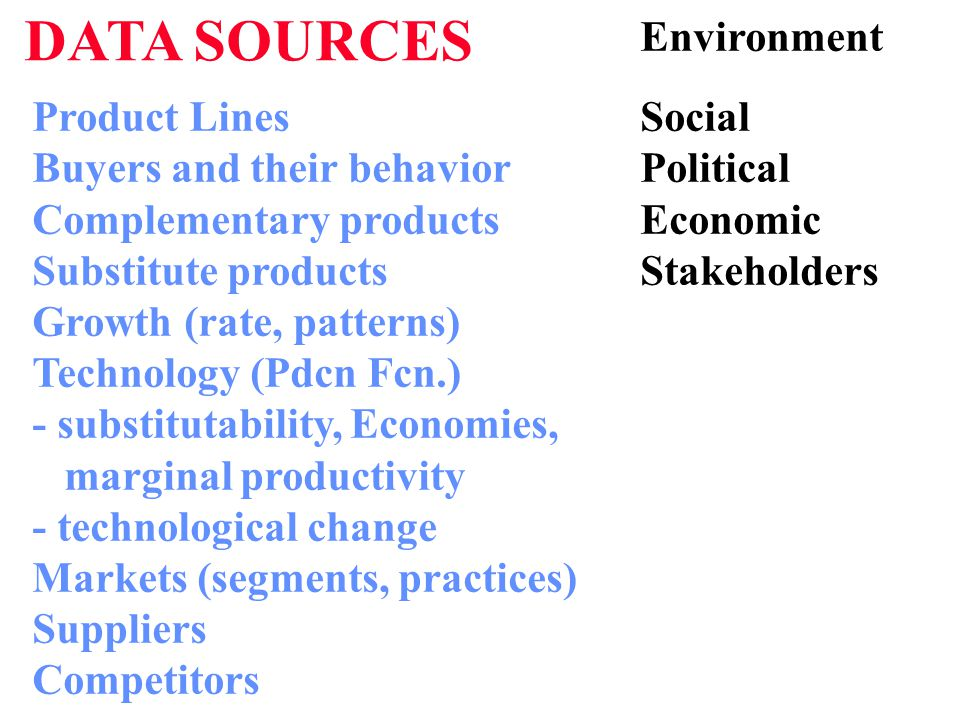 DATA SOURCES Product Lines Buyers and their behavior Complementary products Substitute products Growth (rate, patterns) Technology (Pdcn Fcn.) - substitutability, Economies, marginal productivity - technological change Markets (segments, practices) Suppliers Competitors Social Political Economic Stakeholders Environment