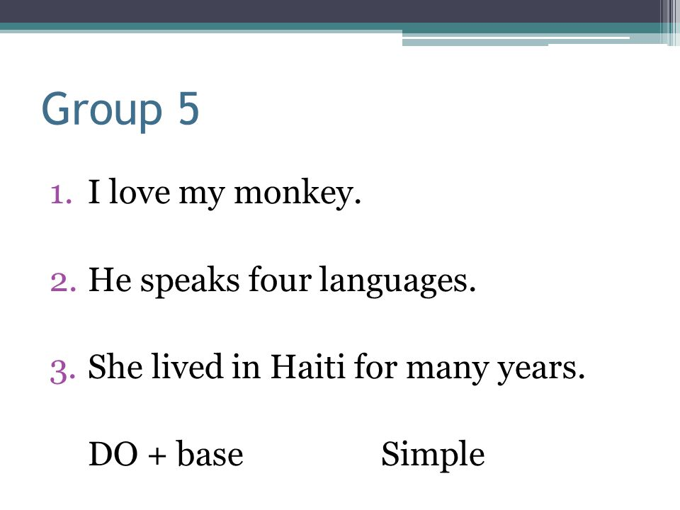 Group 5 1.I love my monkey. 2.He speaks four languages. 3.She lived in Haiti for many years. DO + baseSimple
