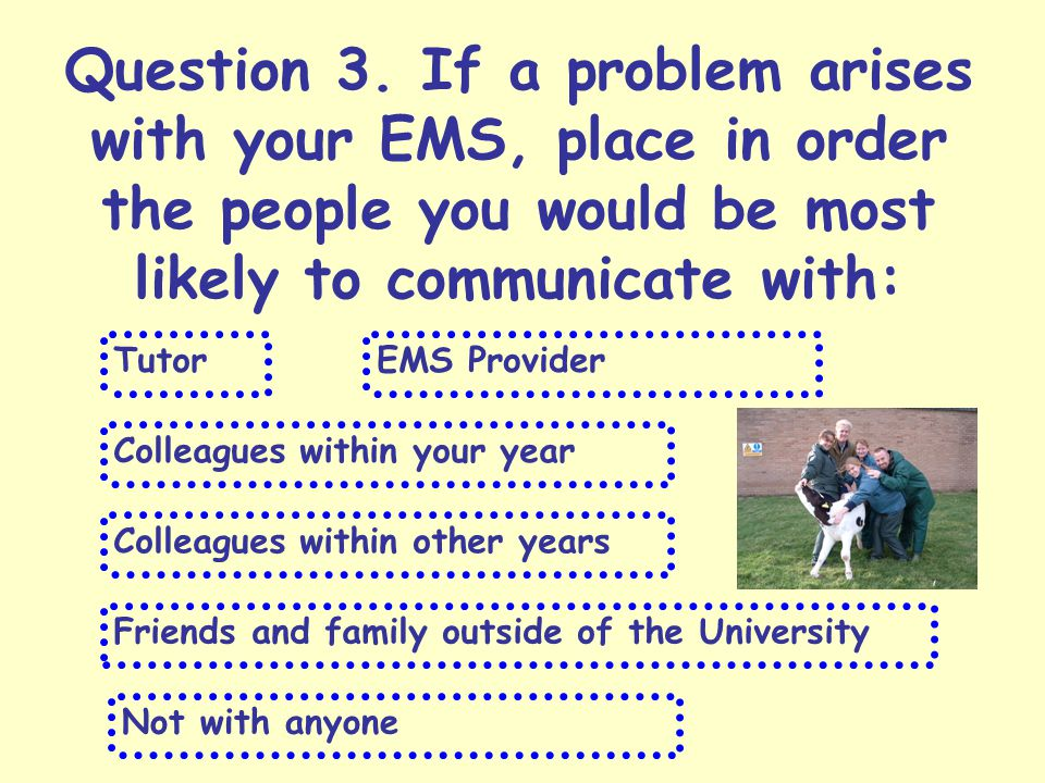 Question 3. If a problem arises with your EMS, place in order the people you would be most likely to communicate with: TutorEMS Provider Colleagues wi