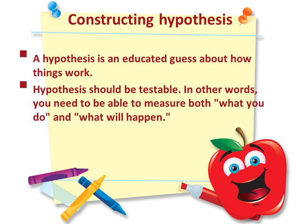 Constructing hypothesis  A hypothesis is an educated guess about how things work.