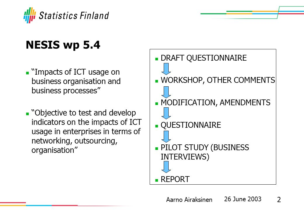 "26 June 2003 2 Aarno Airaksinen NESIS wp 5.4 ""Impacts of ICT usage on business organisation and business processes"" ""Objective to test and develop ind"