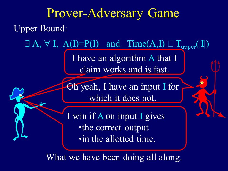  A,  I, A(I)=P(I) and Time(A,I)  T upper (|I|) Upper Bound: Prover-Adversary Game I have an algorithm A that I claim works and is fast.