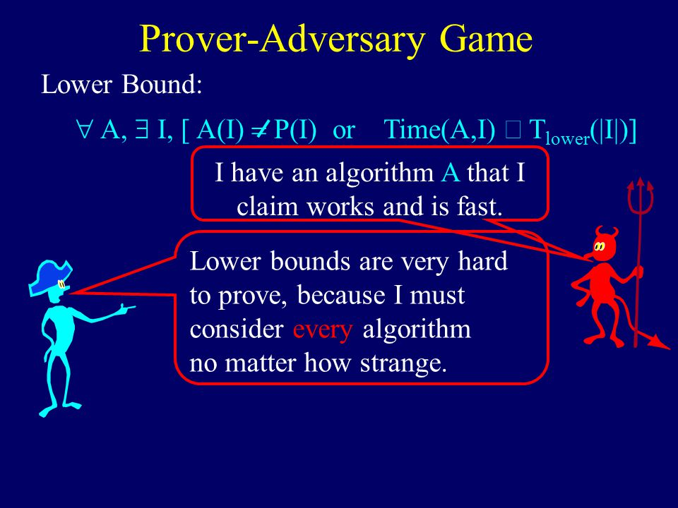 Lower Bound: Prover-Adversary Game  A,  I, [ A(I)  P(I) or Time(A,I)  T lower (|I|)] I have an algorithm A that I claim works and is fast.