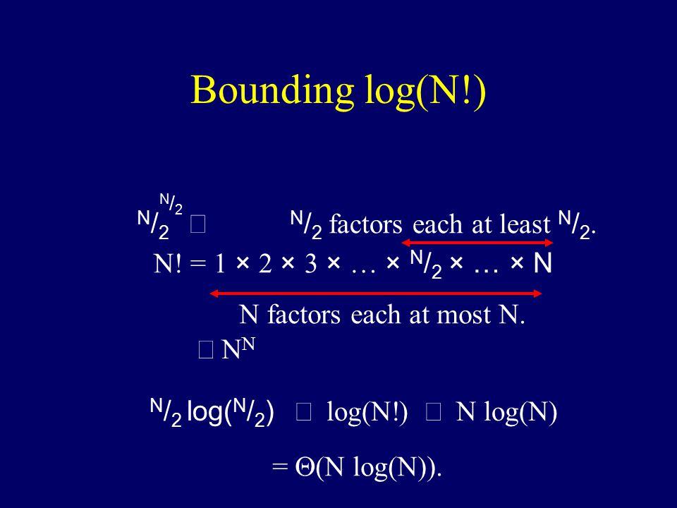 N. = 1 × 2 × 3 × … × N / 2 × … × N N factors each at most N.