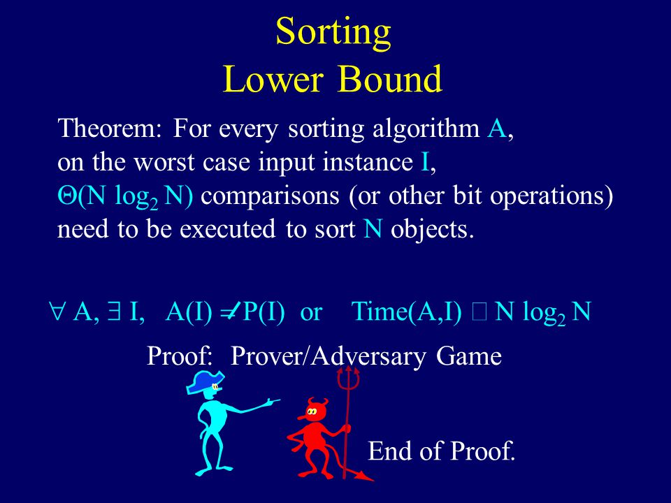Sorting Lower Bound Theorem: For every sorting algorithm A, on the worst case input instance I,  (N log 2 N) comparisons (or other bit operations) need to be executed to sort N objects.