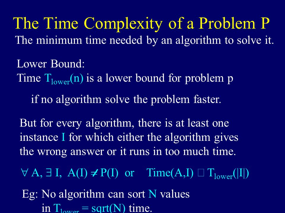 The Time Complexity of a Problem P The minimum time needed by an algorithm to solve it.