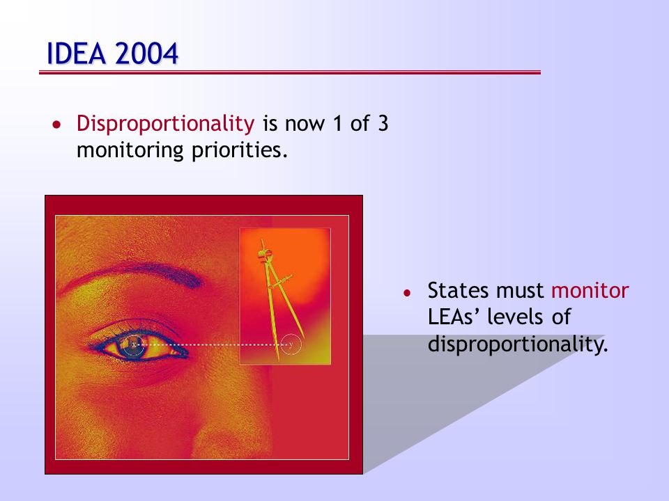 IDEA 2004  Disproportionality is now 1 of 3 monitoring priorities.