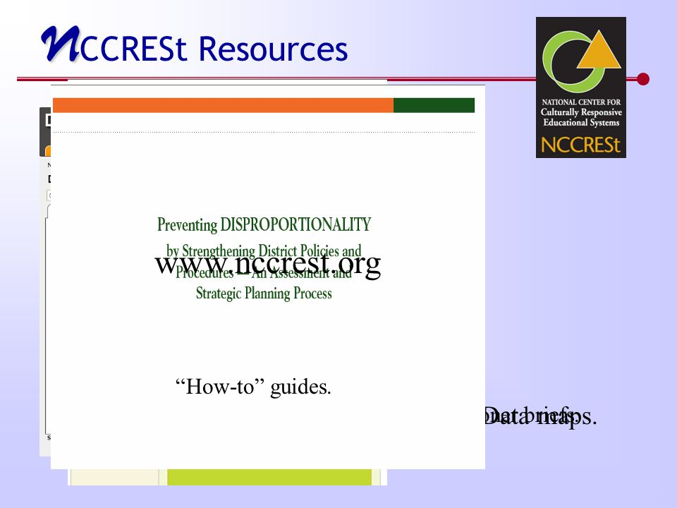 N N CCRESt Resources Data maps. Practitioner briefs. How-to guides. www.nccrest.org