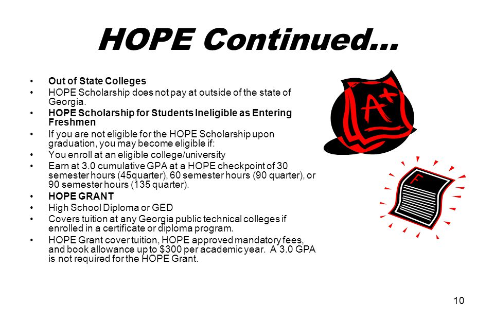 10 HOPE Continued… Out of State Colleges HOPE Scholarship does not pay at outside of the state of Georgia.