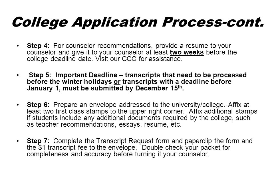 College Application Process-cont.