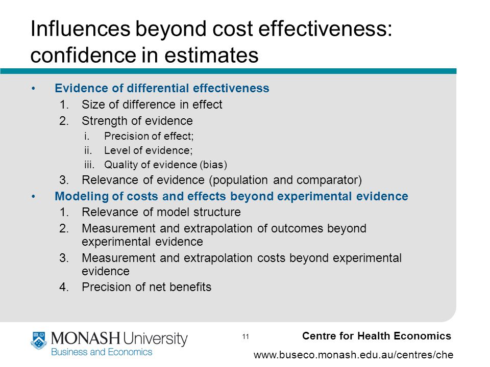11 www.buseco.monash.edu.au/centres/che Centre for Health Economics Influences beyond cost effectiveness: confidence in estimates Evidence of differen
