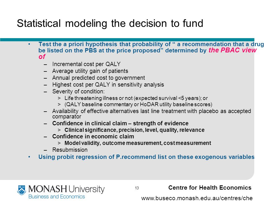 13 www.buseco.monash.edu.au/centres/che Centre for Health Economics Statistical modeling the decision to fund Test the a priori hypothesis that probab