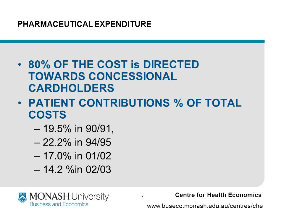 24 www.buseco.monash.edu.au/centres/che Centre for Health Economics Conclusions Cost effectiveness is a significant factor in decisions Cost to government is also significant The credibility and relevance of the clinical effectiveness evidence –Uncertainty is more than just precision on ICER but might be structural ( not easily resolved by Monte Carlo techniques) Similar results for submissions with cost per life year gained Other aspects of evidence (quality of studies) do not appear to be significant – not that the PBAC thinks them unimportant - there may be selection or co- linearity effects Model less significant factor –Possible co- linearity with clinical effectiveness for validity; –Timing.