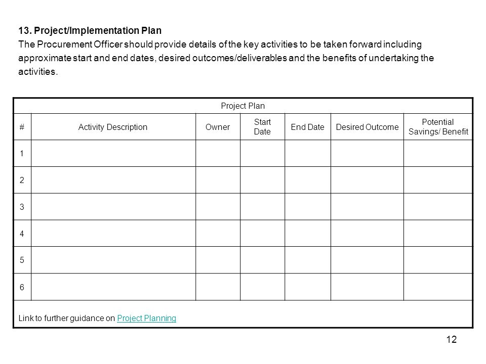 12 Project Plan #Activity DescriptionOwner Start Date End DateDesired Outcome Potential Savings/ Benefit 1 2 3 4 5 6 Link to further guidance on Project PlanningProject Planning 13.