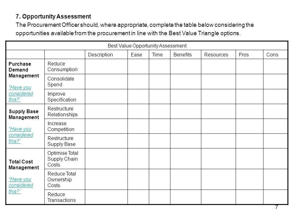 7 7. Opportunity Assessment The Procurement Officer should, where appropriate, complete the table below considering the opportunities available from t