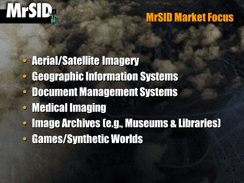 MrSID Market Focus Aerial/Satellite Imagery Geographic Information Systems Document Management Systems Medical Imaging Image Archives (e.g., Museums & Libraries) Games/Synthetic Worlds Aerial/Satellite Imagery Geographic Information Systems Document Management Systems Medical Imaging Image Archives (e.g., Museums & Libraries) Games/Synthetic Worlds