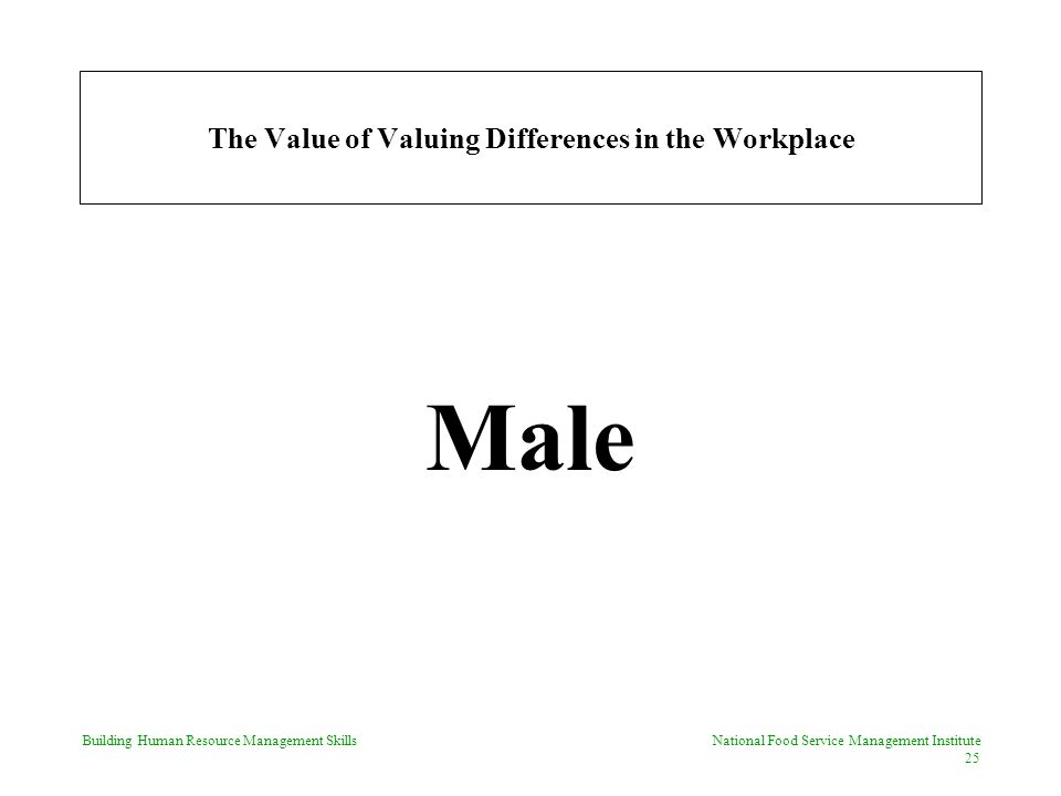 Building Human Resource Management Skills National Food Service Management Institute 25 The Value of Valuing Differences in the Workplace Male