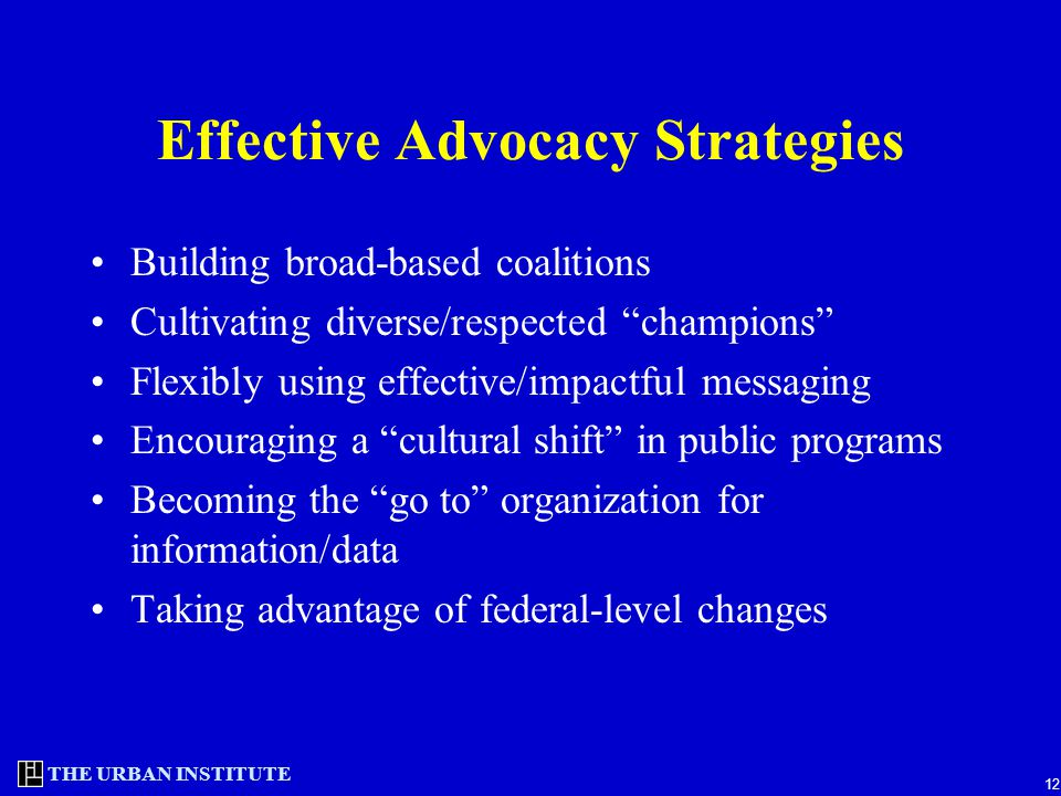 THE URBAN INSTITUTE 12 Effective Advocacy Strategies Building broad-based coalitions Cultivating diverse/respected champions Flexibly using effective/impactful messaging Encouraging a cultural shift in public programs Becoming the go to organization for information/data Taking advantage of federal-level changes
