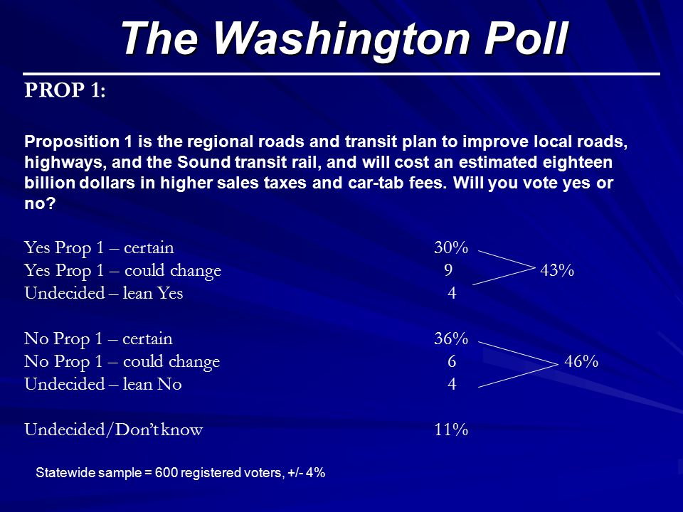 PROP 1: Proposition 1 is the regional roads and transit plan to improve local roads, highways, and the Sound transit rail, and will cost an estimated