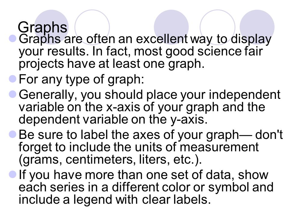 Graphs Graphs are often an excellent way to display your results.