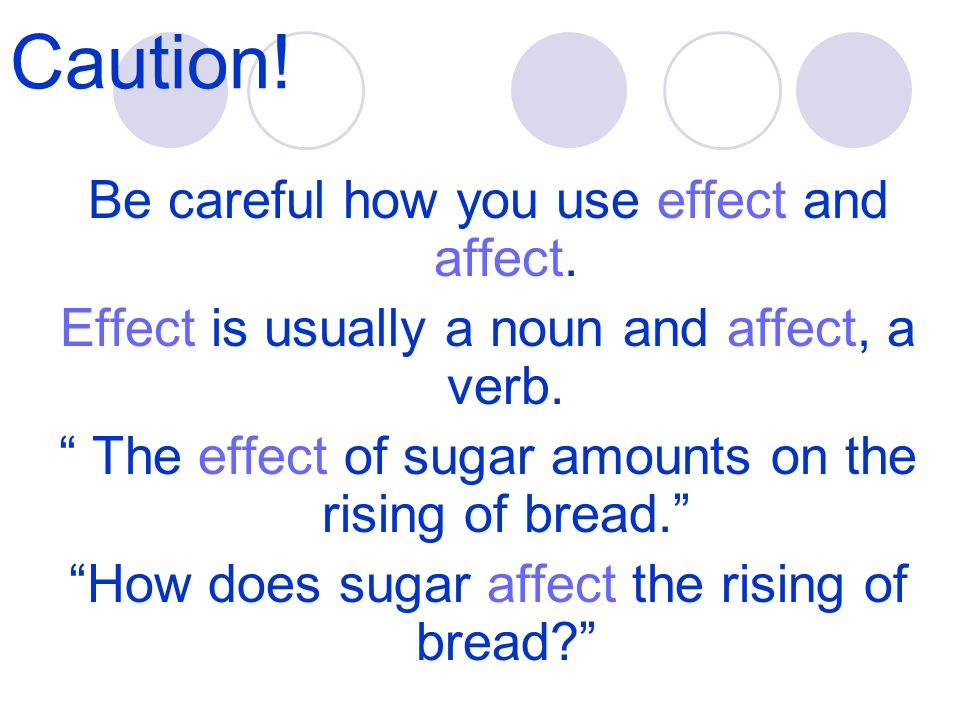Caution.Be careful how you use effect and affect.