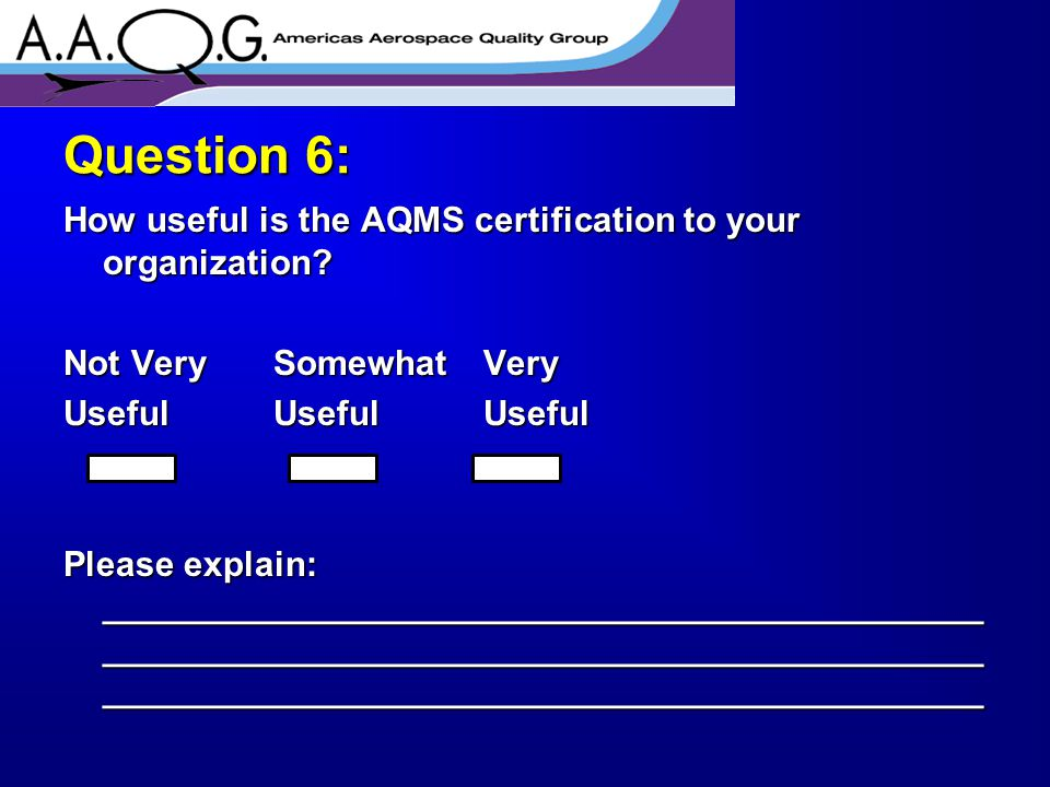 How useful is the AQMS certification to your organization.