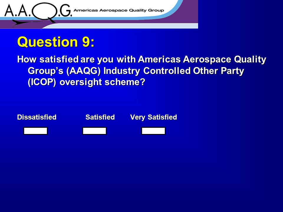 How satisfied are you with Americas Aerospace Quality Group's (AAQG) Industry Controlled Other Party (ICOP) oversight scheme? Dissatisfied Satisfied V
