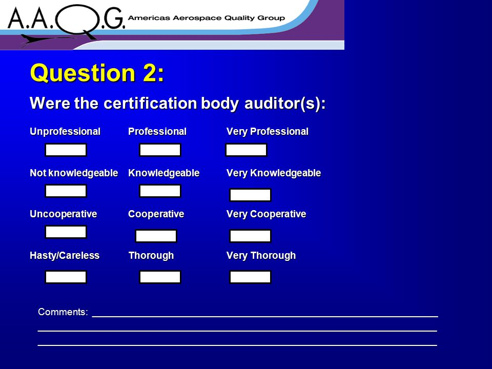Did you agree with the AQMS certification body auditors' interpretation of the aerospace standard.