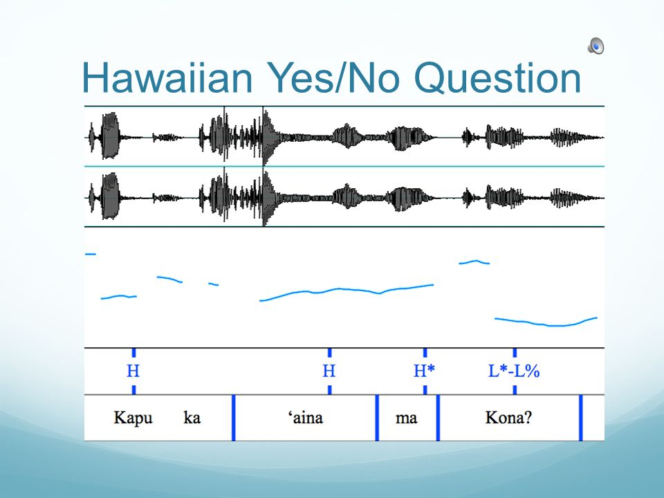 Implications of Study Substrate Influence because: Universalist theory would predict raising Yes/No Question intonation Hawaiian recognized as substantial contributor to HCE Answer question about HCE intonation that has been implied by speaker intuition Language Identity Provide much needed documentation of Hawaiian and HCE intonation structure