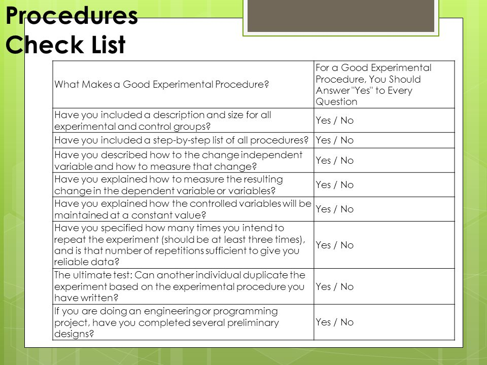 Procedures Check List What Makes a Good Experimental Procedure.
