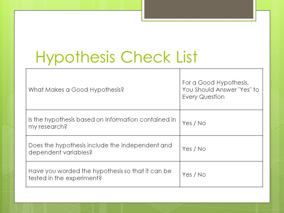 Hypothesis Check List What Makes a Good Hypothesis.