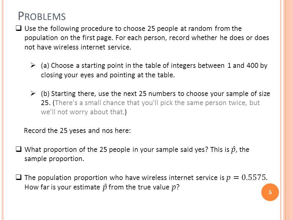 P ROBLEMS 5
