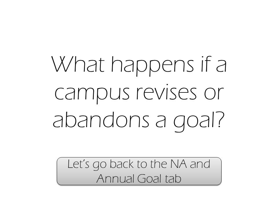 What happens if a campus revises or abandons a goal Let's go back to the NA and Annual Goal tab