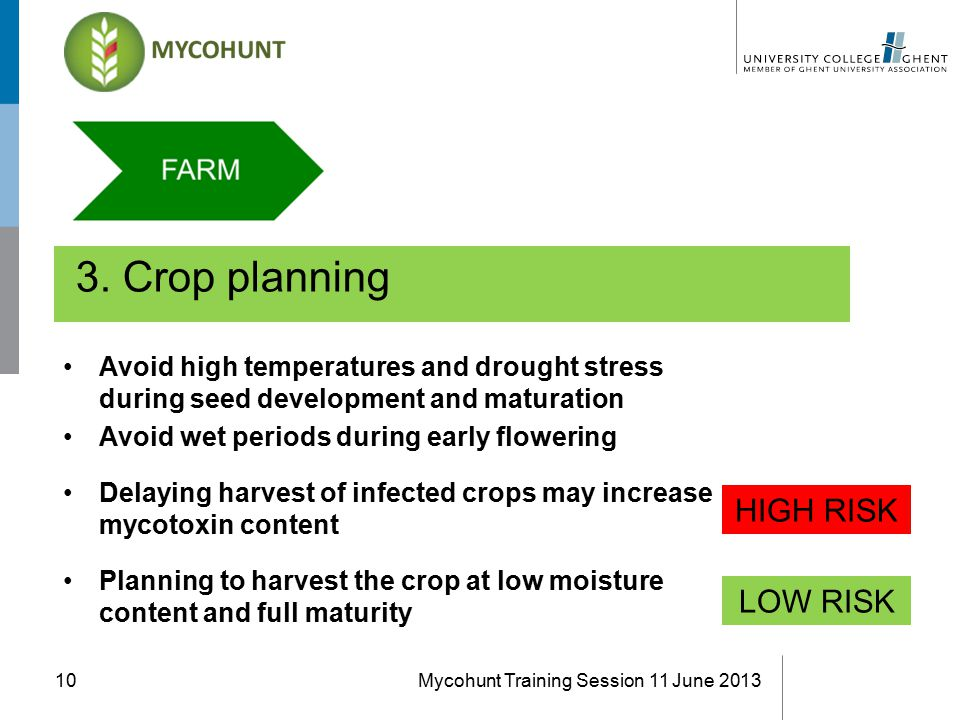 3. Crop planning Mycohunt Training Session 11 June 201310 Avoid high temperatures and drought stress during seed development and maturation Avoid wet