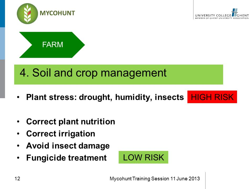 4. Soil and crop management Mycohunt Training Session 11 June 201312 Plant stress: drought, humidity, insects Correct plant nutrition Correct irrigati