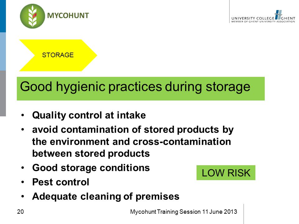 Good hygienic practices during storage Mycohunt Training Session 11 June 201320 Quality control at intake avoid contamination of stored products by the environment and cross-contamination between stored products Good storage conditions Pest control Adequate cleaning of premises LOW RISK STORAGE