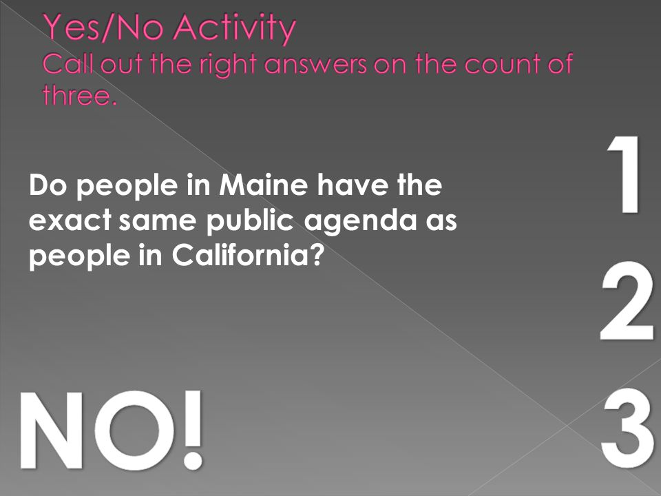 Do people in Maine have the exact same public agenda as people in California