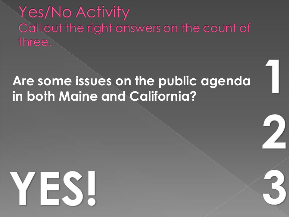 Are some issues on the public agenda in both Maine and California