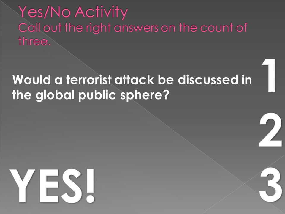 Would a terrorist attack be discussed in the global public sphere