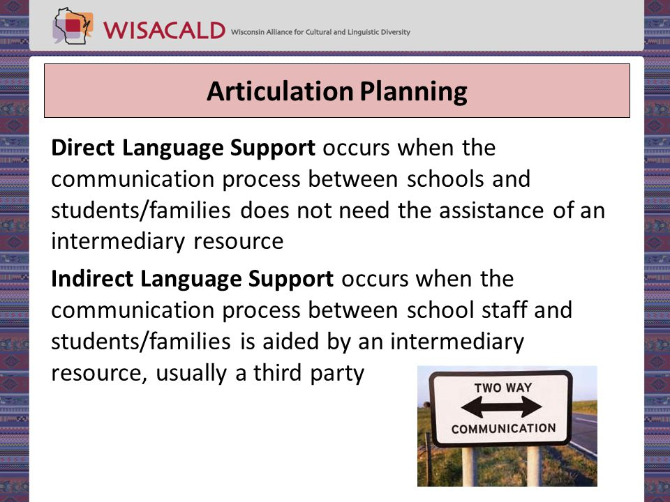 Articulation Planning Direct Language Support occurs when the communication process between schools and students/families does not need the assistance of an intermediary resource Indirect Language Support occurs when the communication process between school staff and students/families is aided by an intermediary resource, usually a third party